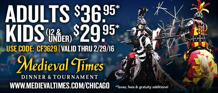 $18 Off Medieval Times Coupon, Discounts $18 off Get Deal Medieval Times is a dining chain loaded with 11th century entertainment that features medieval-style games. Customers can receive a free admission for a future show with each full paid admission and they highly rate the food and show.