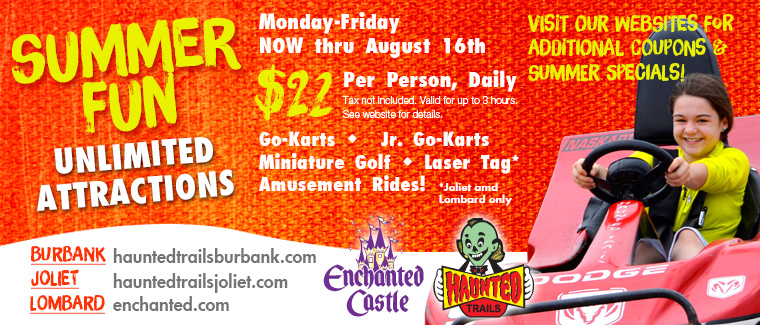 Summer Fun! UNLIMITED Rides & Attractions at Haunted Trails and Enchanted Castle