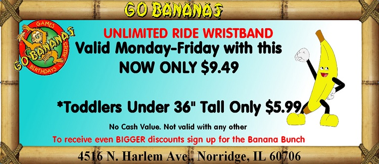 Go Bananas Unlimited Ride Wristband Valid Monday-Friday for only $9.49