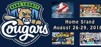 Kane County Cougars Home Stand August 26-29, 2016