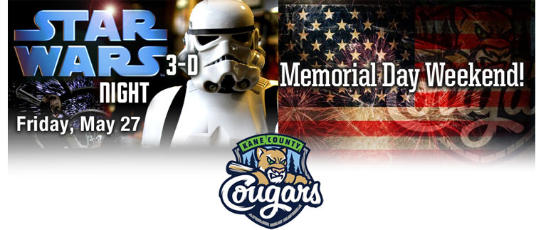 Kane County Cougars Star Wars Night Memorial Day Weekend Celebration